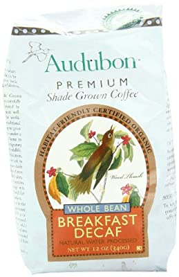 Audubon Whole Bean Coffee, Decaf Breakfast Blend, 12 Ounce