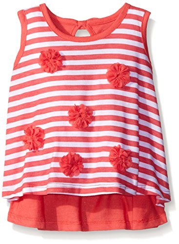 Gerber Graduates Girls Sleeveless Swing Top with Rosettes, Coral Stripe, 18 Months