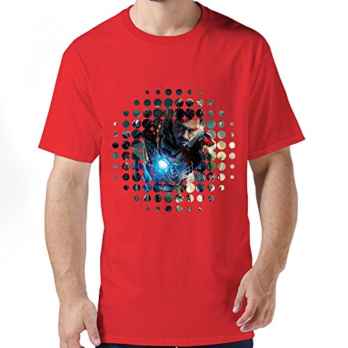 PTHF Men's Iron Man Light UP Arc Reactor LED T Shirts With Funny Sayings Red