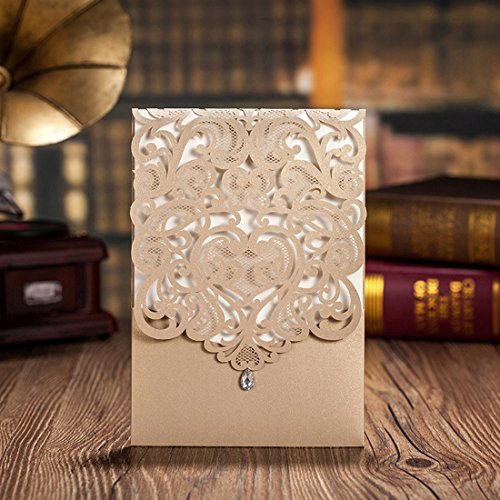 Wishmade 50pcs Gold Laser Cut Wedding Invitations Hollow Vertical Lace Flower Invitation Cards Kit with Rhinestone Marriage Engagement Bridal Shower Birthday Party Supply (set of 50pcs)