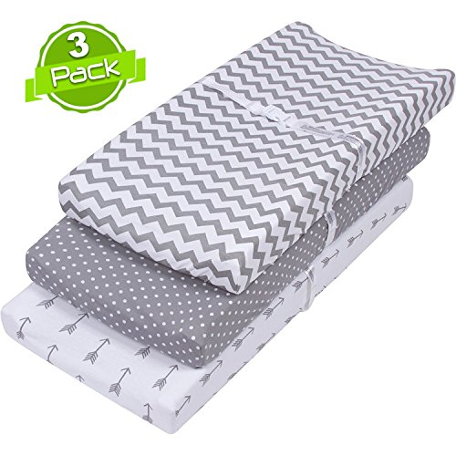 Changing Pad Cover Set | Cradle Bassinet Sheets for Boys & Girls | Super Soft 100% Jersey Knit Cotton | Grey and White | 150 GSM | 3 Pack