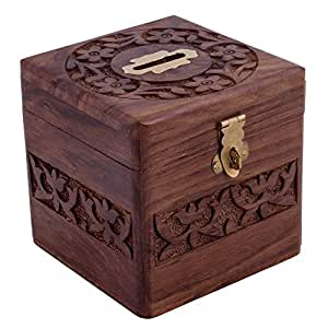 Craft art india brown handmade wooden square for Handmade coin bank