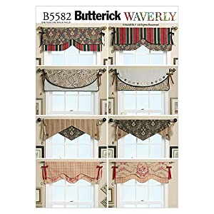 Butterick patterns b5582 one size only reversible window valance pack of 1 white - Kitchen valance patterns ...