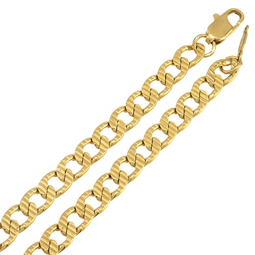 5Mm Gold Plated Cuban Link Curb Chain Necklace, 36 Inches