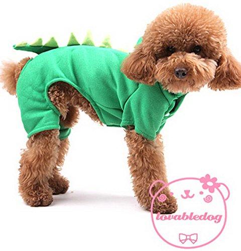 [PEGASUS Small Dog Apparel for Boys Fleece Dog Dinosaur Costume Halloween Dusty Green XL] (Costumes By Dusty)