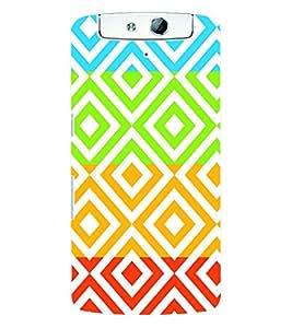 Fuson 3D Printed Pattern Designer Back Case Cover for Oppo N1 - D993
