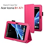 Exact (TM) PU Leather Case Cover With Stand for Acer Iconia B1-A71 7-Inch Android Tablet Hot Pink