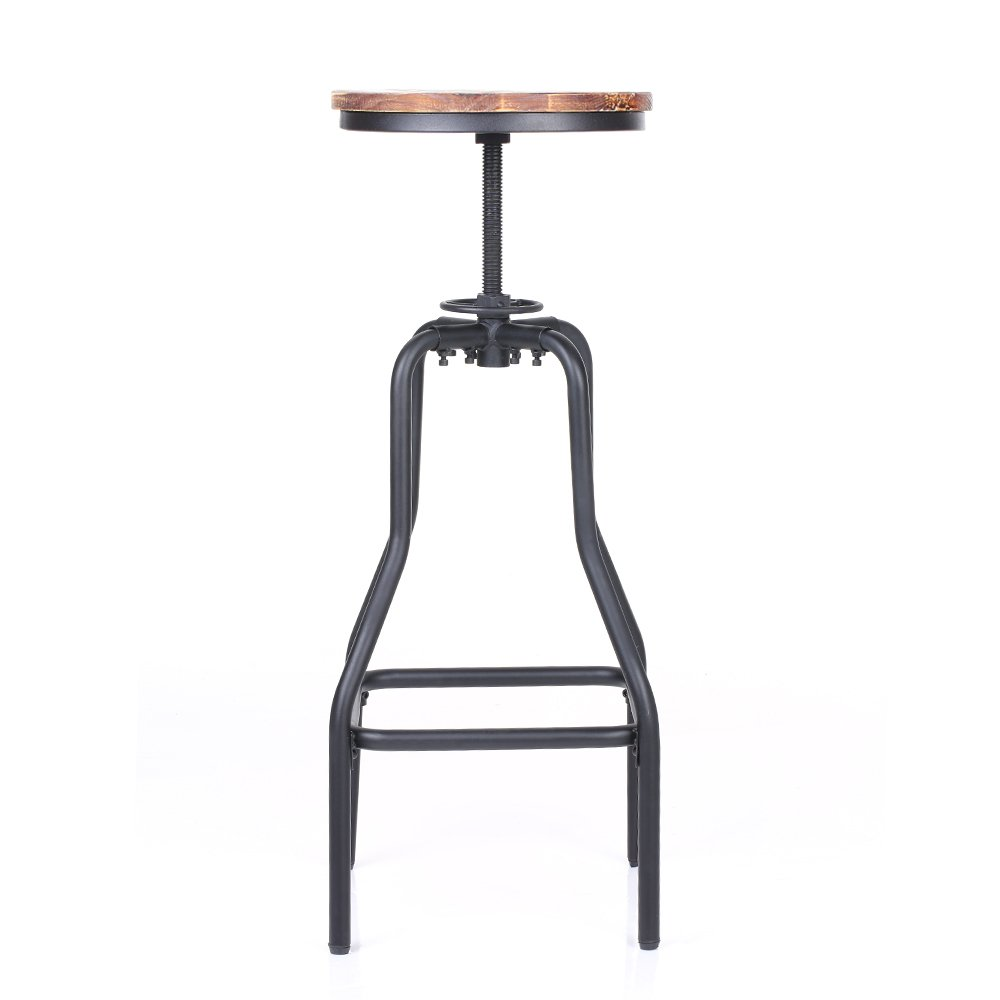 IKAYAA Adjustable Height Swivel Bar Stool Chair Kitchen Dining Breakfast Chair Natural Pinewood Industrial Style 3