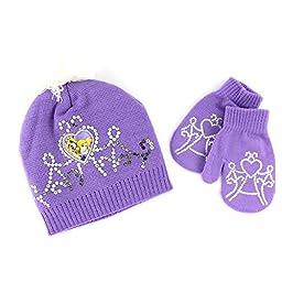Disney Nickelodeon Toddler Girls Hat and Mittens Set (Purple Rapunzel & Blondie)
