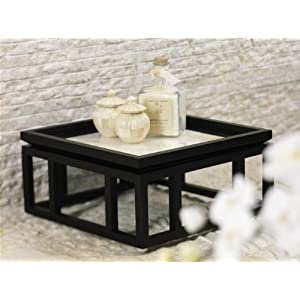 Black Wood Frame with Natural White Shell Inlay Breakfast Tray