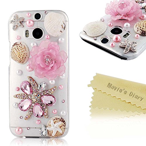 Htc M8 Case - Mavis'S Diary 3D Handmade Crystal Starfish Sea Shell Fresh Pink Lotus Rhinestone Diamond Bling Clear Hard Case Cover For Htc One M8 2014 With Soft Clean Cloth (Sea Star And Pink Flower)
