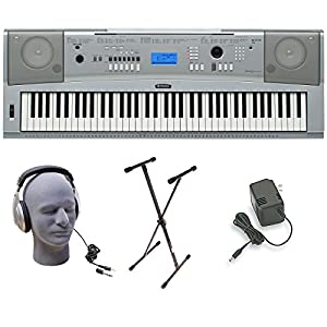 Yamaha DGX-230 Keyboard Bundle, 76 Keys - Includes Professional Headphones, Keyboard Stand, and Power Supply