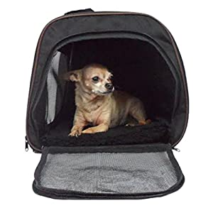 "Pawfect Pet-Large Soft Sided Airline Approved Pet Carrier For Dog Or Cat, 18"" L x 12"" W x 11.5"" H, Black"