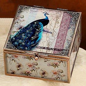 Amazon Com Elegant Glass Jewelry Box Peacock With White