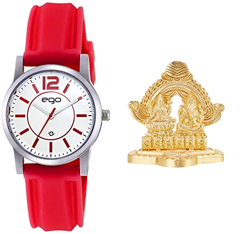 Maxima Ego Analog White Dial Women's Watch with Laxmi Ganesh Idol and a Greeting Card Combo - (E-01454COMBO)