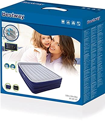 Bestway Night Right Queen Raised Air Bed with Built-In Electric Pump and Pillow - 80 x 60 x 18 Inches