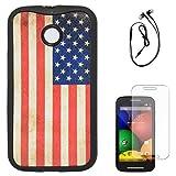 DMG Flexible Soft TPU Back Cover Case For Motorola Moto E XT1022 (US Flag) + Black Earphones + Matte Screen