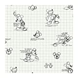 York Wallcoverings Disney Kids DK6083 Mickey Mouse Sketches Wallpaper, Black/White