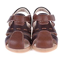 Bumud Toddler Little Boy\'s Leather Fisherman Sandal (9.5 M US Toddler, Brown)