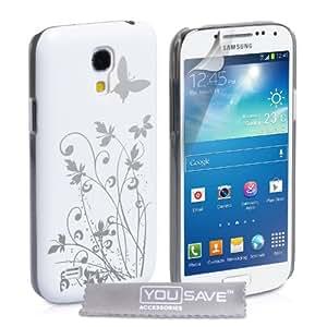YouSave Accessories SA-EA02-Z433 Coque pour Samsung Galaxy S4 Mini Motif Floraux Papillon Blanc/Argent
