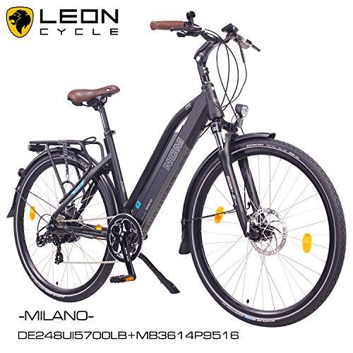 NCM-Milano-201628-Zoll-Elektrofahrrad-HerrenDamen-Unisex-PedelecE-BikeTrekking-Rad-36V-250W-14Ah-Lithium-Ionen-Akku-mit-PANASONIC-Zellen-matt-schwarz