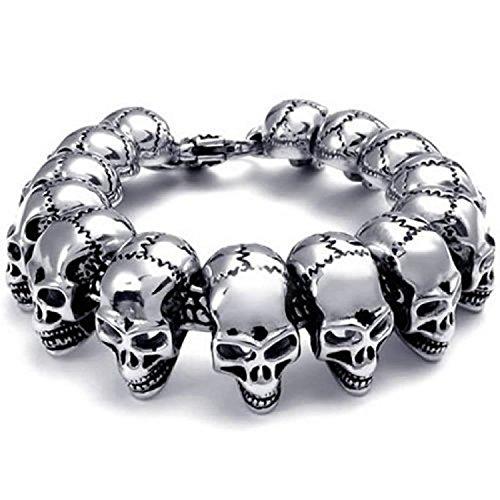 Three Keys Jewelry Men's Large Heavy Stainless Steel Bracelet Link Wrist Silver Black Skull Cross Gothic Punk Style Fashion Jewelry