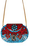 Urban Stitch Handmade Lakh Turquoise and Red Casual, Party, Ethnic Clutch cum Sling