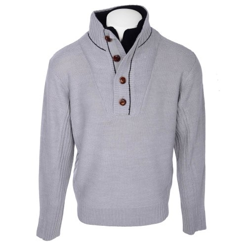 Fletcher & Lowe Men's Grey Marl 1/4 Zip Fleece Mock Insert Knitted Jumper in Size XXLarge