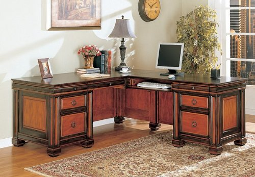 Buy Low Price Comfortable Traditional Dark Two-Tone L Shaped Computer Desk w/Storage (B002L7V9E6)
