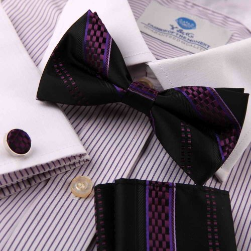 Purple bow tie stores gift mens indigo Stripes Silk Pre-tied Bow tie, Cufflinks, Hanky Gift Box Set BY Epoint EBC1032