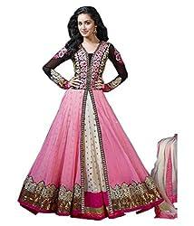 Mahadev Enterprise Women Cotton Indian Anarkali Best Blue Net Material