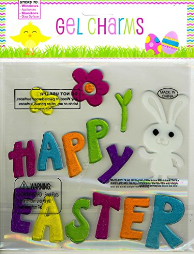 Nantucket Home Happy Easter and White Bunny Glitter Gel Window Clings - 1