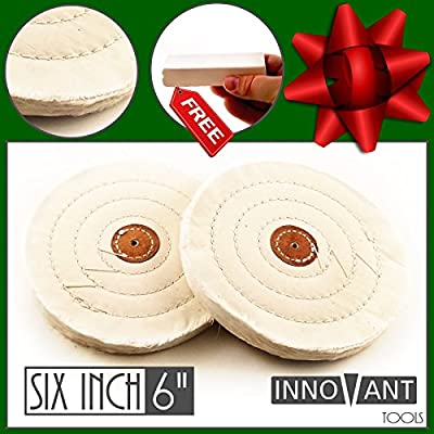 """INNOVANT 6"""" Cotton Bench Grinder Buffing & Polish Wheel Set 2PC Long Life Stitching fits 1/8"""" (3mm) Mandrel Best for Buff & polishing metal aluminum stainless steel brass chrome iron"""