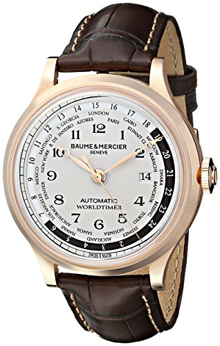 Baume-Mercier-Mens-A10107-Capeland-Rose-Gold-Automatic-Watch-with-Brown-Leather-Band
