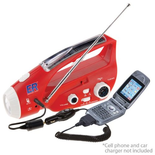 Quakekare Solar / Hand-Crank Powered Flashlight, Radio & Am/ Fm Radio