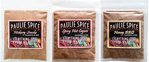 Paulie Spice : BBQ Seasoning and Rub Set : Hickory Smoke : Sweet Honey BBQ : Spicy Hot Cajun for: Ribs, Chicken, Meat, Steak, Pork, Beef, Fish, Dry, Rub, Spices, Grill, Grilling, Barbecue, Seasonings