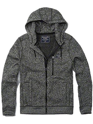 (アバクロンビー&フィッチ) Abercrombie & Fitch アバクロ メンズ フルジップ ニット パーカー フーディー アウター セーター [ブラック/LOGOパッチ] 並行輸入品 Sサイズ
