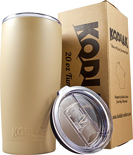 Kodiak Coolers Vacuum Insulated Tumbler Two Lids - Stainless Steel Double Wall - Thermal Coffee Travel Cup Rambler Mug - Thermos BPA Free - Compare to Yeti & Contigo - Hold Ice 24 Hours (Tan 20) (Coffee Cooler compare prices)