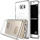 Galaxy Note 5 Case, Ringke [Fusion] Crystal Clear PC Back TPU Bumper w/ Screen Protector [Drop Protection/Shock Absorption Technology][Attached Dust Cap] For Samsung Galaxy Note 5 - Crystal View