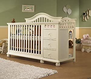 Sorelle Cape Cod Crib and Changer with Toddler Rail, French White
