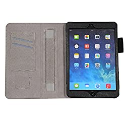 HOKO Black Leather Flip Cover Book Case with Card Slot and magnetic closure for Apple iPad mini 2 retina (Auto wake and sleep)