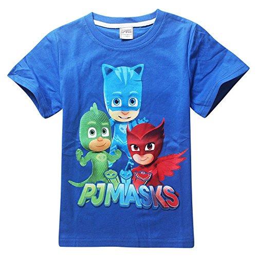 Owone Box Baby Kids PJ Masks Cotton Short Sleeve T-shirt Birthday gift, Blue, 5-6T