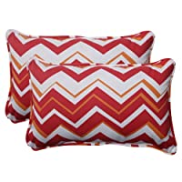 Pillow Perfect Indoor/Outdoor Tempo Corded Rectangular Throw Pillow, Red, Set of 2 by Pillow Perfect