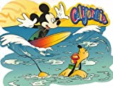 Disney's Mickey Mouse Surfing with Pluto California Postcard
