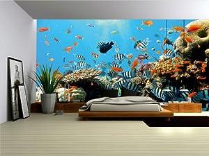 Wallpaper mural 39 39 reef 39 39 fleece photo wallpaper wall for Amazon mural wallpaper