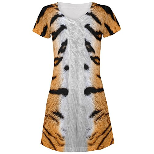 Halloween Tiger Costume All Over Juniors V-Neck Dress