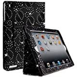 DN-Technology  Diamond Bling Sparkly Gem Glitter Leather Flip Case Cover Pouch For Apple iPad 2nd / 3rd / 4th Generation (Black)