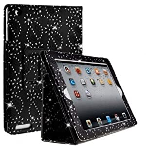 Diamond Bling Sparkly Gem Glitter Leather Flip Case Cover Pouch For Apple Ipad 2nd / 3rd / 4th Generation With Screen Guard & Stylus (Black)