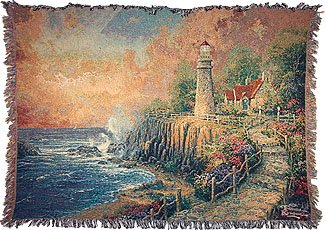 Thomas Kinkade Light of Peace Lighthouse Throw Blanket Afghan Coverlet New Gift