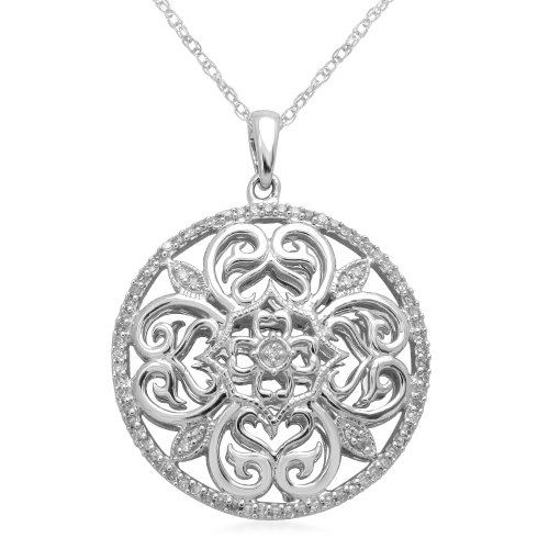 Sterling Silver Circle Pendant Necklace (1/5 cttw, I-J Color, I3 Clarity), 18